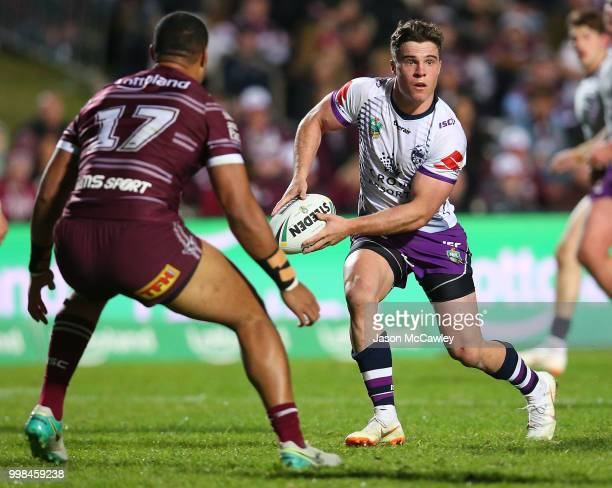 Brodie Croft of the Storm runs the ball during the round 18 NRL match between the Manly Sea Eagles and the Melbourne Storm at Lottoland on July 14...