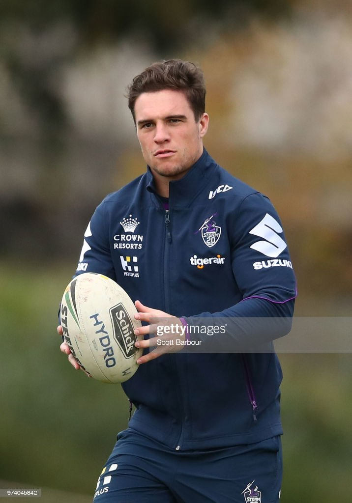 Brodie Croft of the Storm runs with the ball during a Melbourne Storm NRL training session at Gosch's Paddock on June 14, 2018 in Melbourne, Australia.