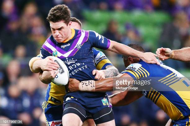 Brodie Croft of the Storm runs with the ball during the round 23 NRL match between the Melbourne Storm and the Parramatta Eels at AAMI Park on August...