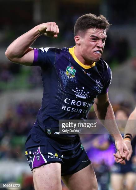 Brodie Croft of the Storm scores a try during the round 17 NRL match between the Melbourne Storm and the St George Illawarra Dragons at AAMI Park on...