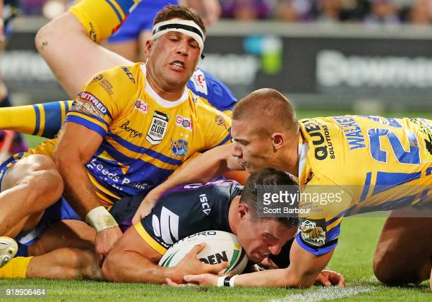 Brodie Croft of the Storm scores a try during the World Club Challenge match between the Melbourne Storm and the Leeds Rhinos at AAMI Park on...