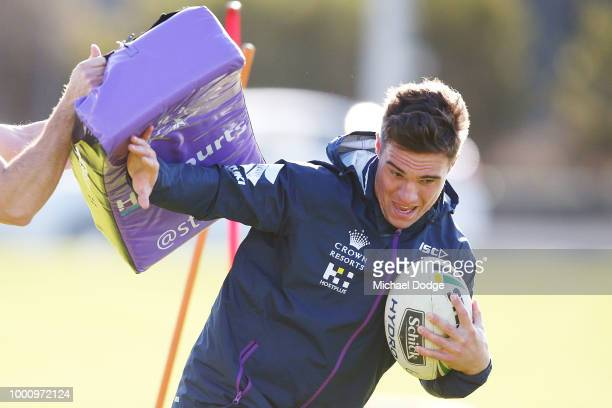 Brodie Croft runs with the ball during a Melbourne Storm NRL media opportunity at Gosch's Paddock on July 18 2018 in Melbourne Australia