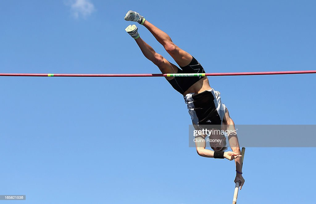 Brodie Cross of Australia jumps in the Men's Pole Vault during the 2013 Melbourne Track Classic at Olympic Park on April 6, 2013 in Melbourne, Australia.