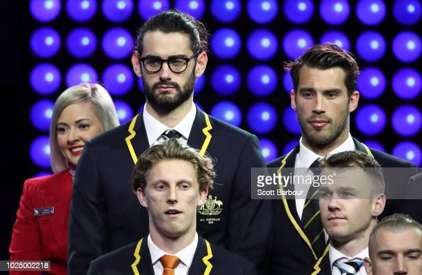 Brodie Grundy of the Magpies and Alex Rance of the Tigers look on during the 2018 AFL AllAustralia Awards at the Palais Theatre on August 29 2018 in...