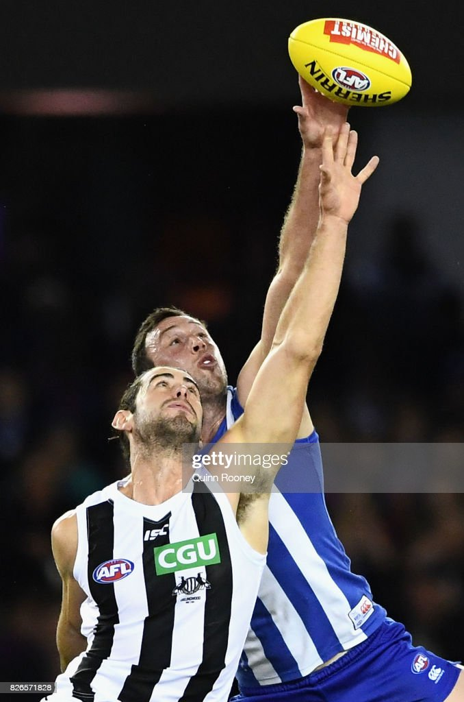 Brodie Grundy of the Magpies and Todd Goldstein of the Kangaroos compete in the ruck during the round 20 AFL match between the North Melbourne Kangaroos and the Collingwood Magpies at Etihad Stadium on August 5, 2017 in Melbourne, Australia.