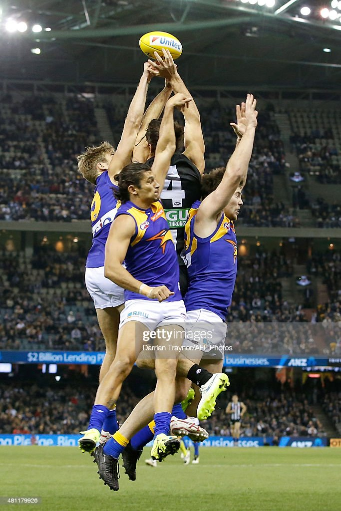 Brodie Grundy of the Magpies attempts to mark the ball during the round 16 AFL match between the Collingwood Magpies and the West Coast Eagles at Etihad Stadium on July 18, 2015 in Melbourne, Australia.