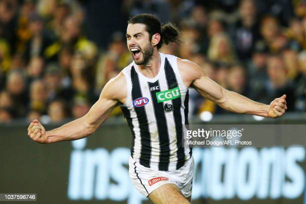 Brodie Grundy of the Magpies celebrates a goal during the AFL Preliminary Final match between the Richmond Tigers and the Collingwood Magpies on...