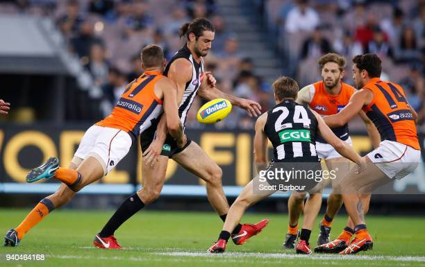 Brodie Grundy of the Magpies competes for the ball during the round two AFL match between the Collingwood Magpies and the Greater Western Sydney...