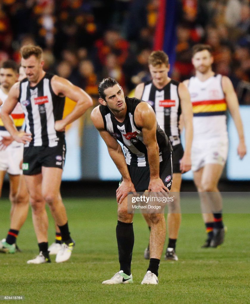 Brodie Grundy of the Magpies reacts after a draw during the round 19 AFL match between the Collingwood Magpies and the Adelaide Crows at Melbourne Cricket Ground on July 30, 2017 in Melbourne, Australia.