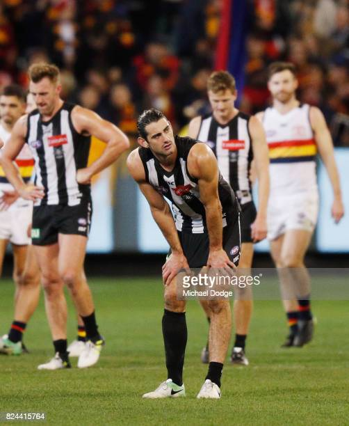 Brodie Grundy of the Magpies reacts after a draw during the round 19 AFL match between the Collingwood Magpies and the Adelaide Crows at Melbourne...
