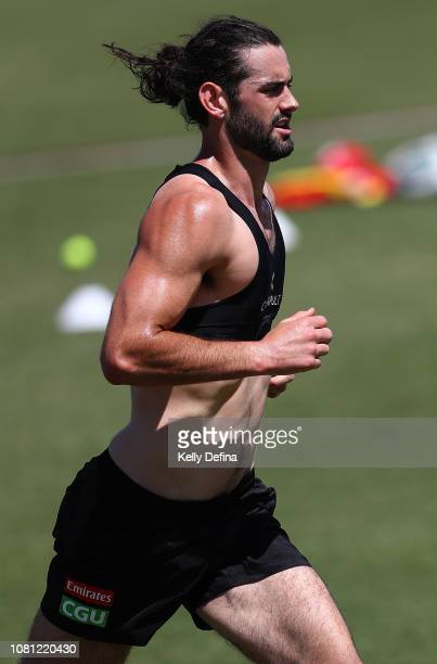 Brodie Grundy of the Magpies runs during a Collingwood Magpies AFLW and AFL team training session at the Holden Centre on December 12 2018 in...