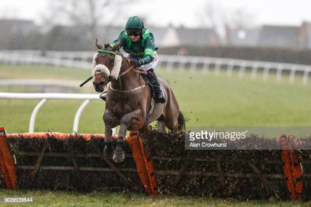 Brodie Hampson riding Cougar Kid clear the last to win The myracingcom Free Tips Every Day Handicap Hurdle at Hereford racecourse on January 16 2018...
