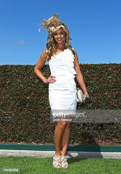 Brodie Harper, the Caulfield Classic Style ambassador attends Caulfield Guineas Day at Caulfield Racecourse on October 9, 2010 in Melbourne,...