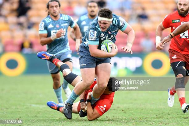 Brodie McAlister of the Crusaders takes on the defence during the round seven Super Rugby match between the Sunwolves and the Crusaders at Suncorp...
