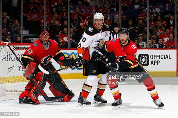 Brodie of the Calgary Flames skates against Mike Smith of the Anaheim Ducks during an NHL game on January 6 2018 at the Scotiabank Saddledome in...