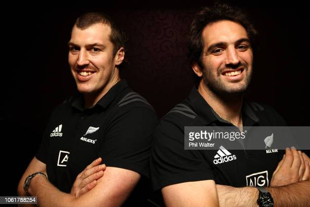 Brodie Retallick and Sam Whitelock pose during a New Zealand All Black media session at the Crowne Plaza on November 15 2018 in Dublin Ireland