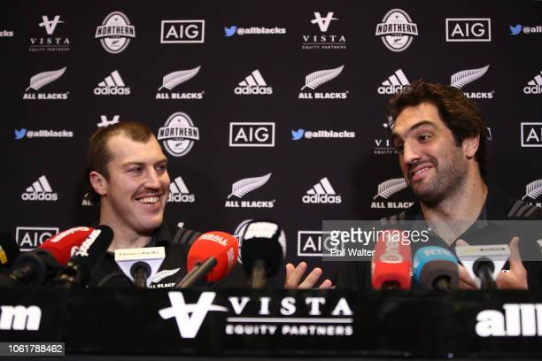 Brodie Retallick and Sam Whitelock speak during a New Zealand All Black media session at the Crowne Plaza on November 15 2018 in Dublin Ireland