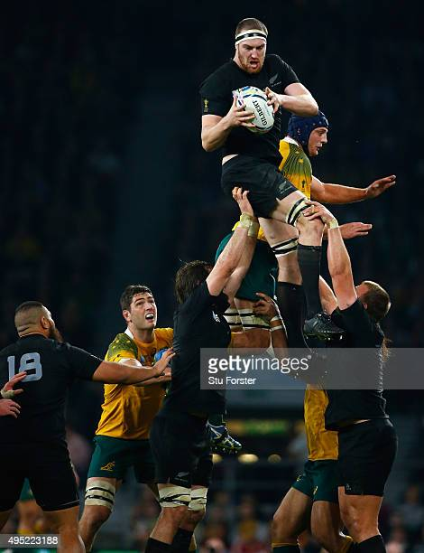 Brodie Retallick of New Zealand wins a lineout during the 2015 Rugby World Cup Final match between New Zealand and Australia at Twickenham Stadium on...