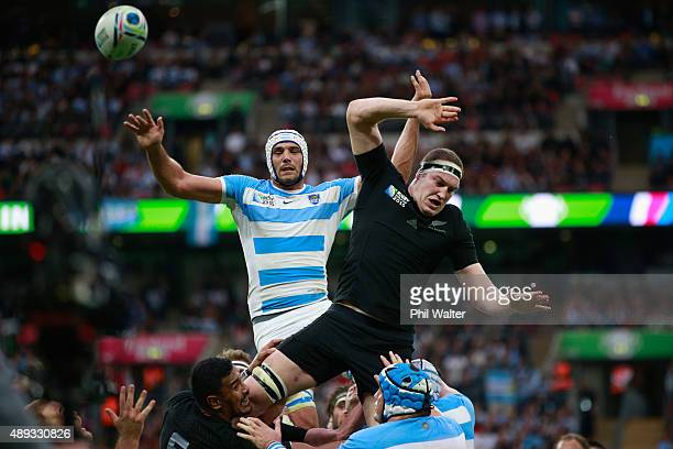 Brodie Retallick of the All Blacks and Ramiro Herrera of Argentina contest the bal lin the lineout during the 2015 Rugby World Cup Pool C match...
