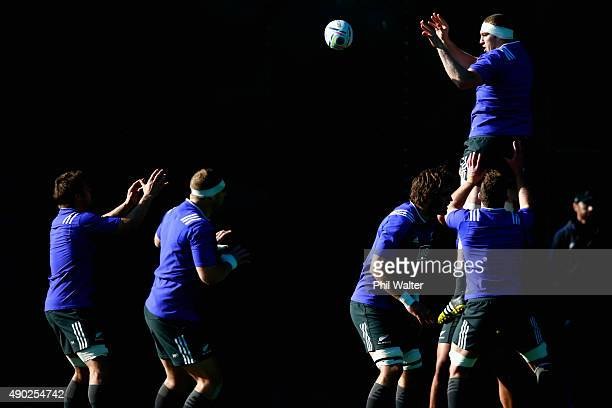 Brodie Retallick of the All Blacks clears the ball from the lineout during a New Zealand All Blacks training session at Sophia Gardens on September...