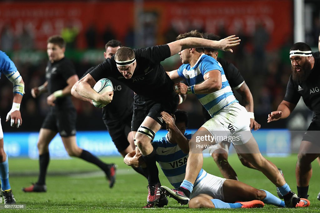 Brodie Retallick of the All Blacks is tackled during the Rugby Championship match between the New Zealand All Blacks and Argentina at Waikato Stadium on September 10, 2016 in Hamilton, New Zealand.