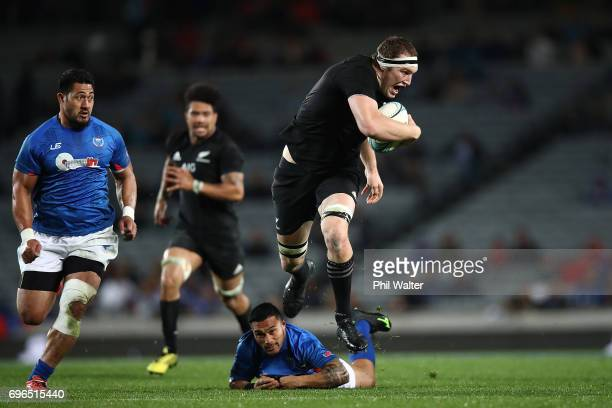 Brodie Retallick of the All Blacks makes a break during the International Test match between the New Zealand All Blacks and Samoa at Eden Park on...