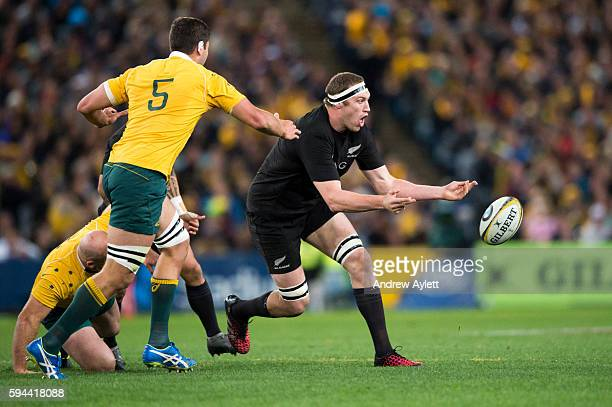 Brodie Retallick of the All Blacks passes during The Rugby Championship Bledisloe Cup match between the Australian Wallabies and the New Zealand All...