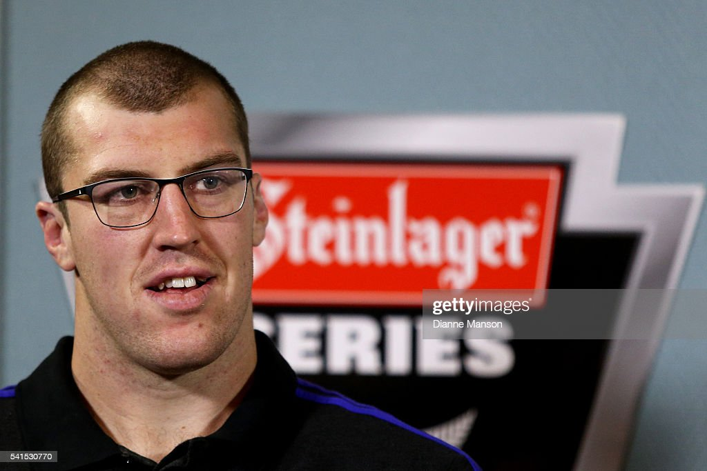 Brodie Retallick of the All Blacks speaks to the media during a New Zealand All Blacks Media session on June 20, 2016 in Dunedin, New Zealand.