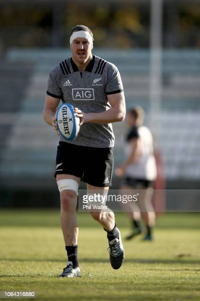 Brodie Retallick of the All Blacks warms up during a New Zealand All Black training session on November 22 2018 in Rome Italy