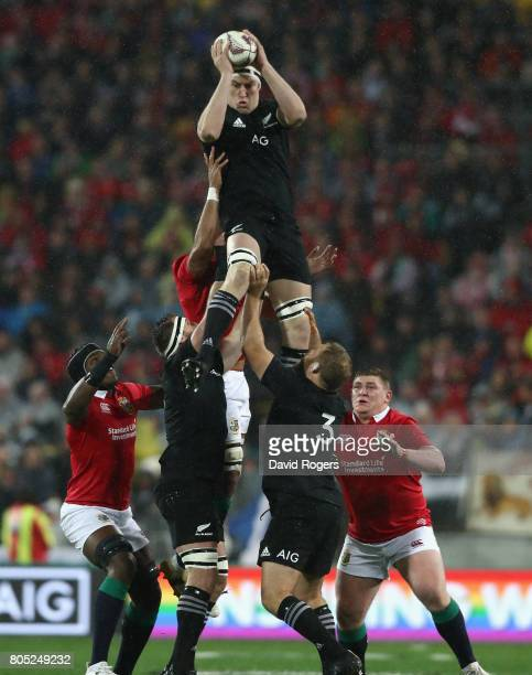 Brodie Retallick of the All Blacks wins the lineout during the match between the New Zealand All Blacks and the British Irish Lions at Westpac...