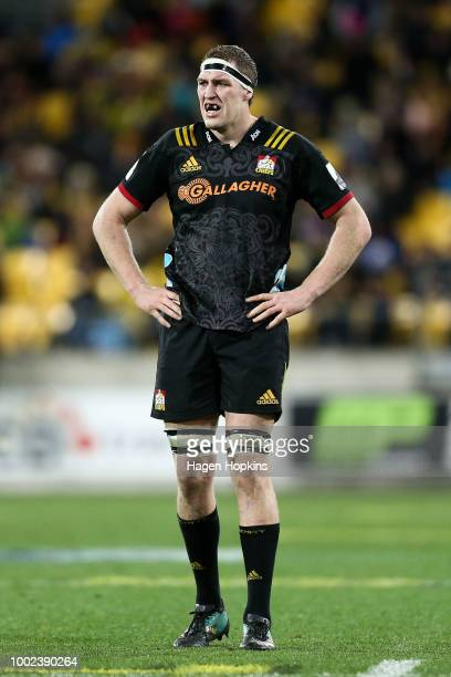 Brodie Retallick of the Chiefs looks on during the Super Rugby Qualifying Final match between the Hurricanes and the Chiefs at Westpac Stadium on...