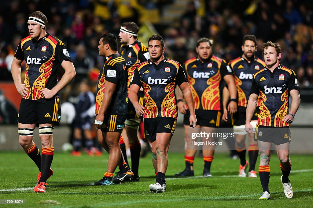 Brodie Retallick, Quentin MacDonald and Brad Weber of the Chiefs look on during the round 18 Super Rugby match between the Chiefs and the Hurricanes at Yarrow Stadium on June 13, 2015 in New Plymouth, New Zealand.