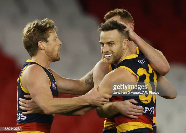 Brodie Smith of the Corws celebrates a goal during the round 20 AFL match between Adelaide Crows and Hawthorn Hawks at Marvel Stadium on July 24,...