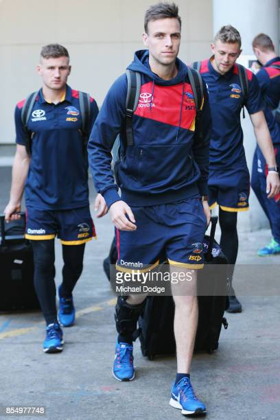 Brodie Smith of the Crows arrives at Melbourne Airport on September 28 2017 in Melbourne Australia Adelaide will play against Richmond in Saturday's...