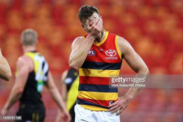 Brodie Smith of the Crows looks dejected after defeat during the round 11 AFL match between the Richmond Tigers and the Adelaide Crows at GIANTS...