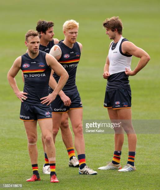 Brodie Smith of the Crows looks on during an Adelaide Crows AFL training session at Adelaide Oval on August 05, 2021 in Adelaide, Australia.