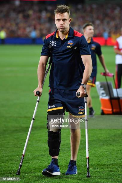 Brodie Smith of the Crows walks from the field after the First AFL Preliminary Final match between the Adelaide Crows and the Geelong Cats at...