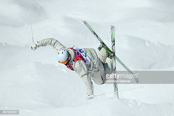 Brodie Summers of Australia practices during the Men's and Ladies Moguls official training session ahead of the the Sochi 2014 Winter Olympics at...