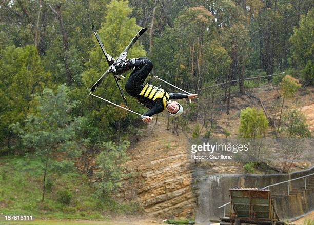 Brodie Summers of the Australian Moguls Team jumps during a training session at the Lilydale water ramp training facility on November 13 2013 in...