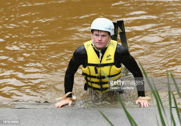 Brodie Summers of the Australian Moguls Team makes his way out of the water during a training session at the Lilydale water ramp training facility on...