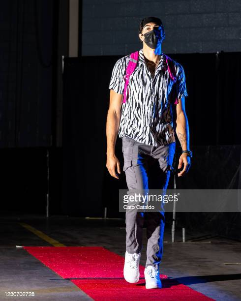 Brodric Thomas of the Houston Rockets arrives to the arena before the game against the Phoenix Suns on January 20, 2021 at the Toyota Center in...