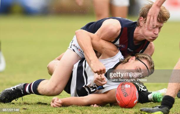 Brody Bell of the Knights dives for the ball during the round one TAC Cup match between Northern Knights and Sandringham at Frankston Oval on March...