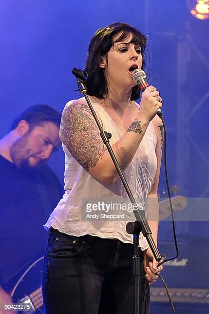 Brody Dalle of Spinnerette performs on stage on Day 2 of Reading Festival 2009 on August 29 2009 in Reading England