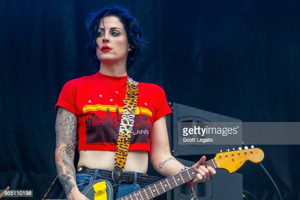 Brody Dalle of The Distillers performs at Shaky Knees Music Festival at Atlanta Central Park on May 5 2018 in Atlanta Georgia