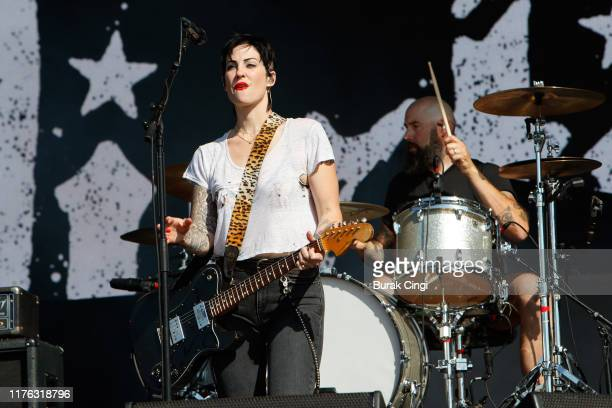Brody Dalle of The Distillers performs live on the Main Stage during day three of Reading Festival 2019 at Richfield Avenue on August 25 2019 in...