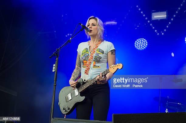 Brody Dalle performs at Rock en Seine Festival at Domaine national de Saint Cloud on August 24 2014 in SaintCloud France
