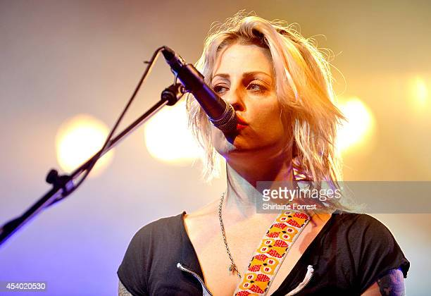 Brody Dalle performs on Day 2 of the Leeds Festival at Bramham Park on August 23 2014 in Leeds England