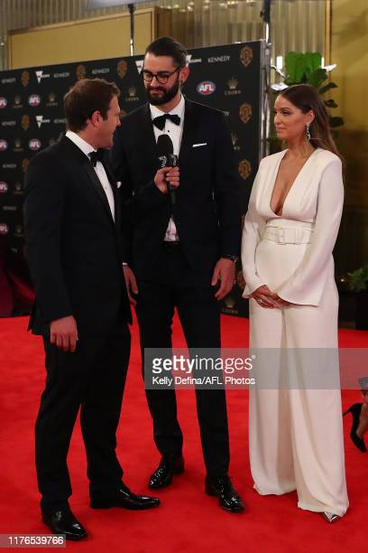 Brody Grundy of the Magpies and Rachel Wertheim arrives ahead of the 2019 Brownlow Medal at Crown Palladium on September 23, 2019 in Melbourne,...