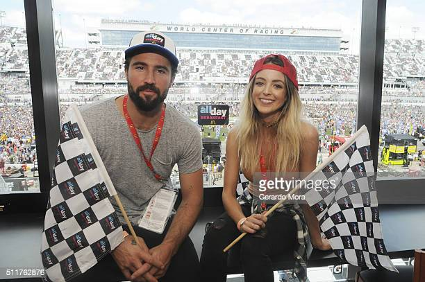 Brody Jenner and girlfriend Kaitlynn Carter watch the Daytona 500 in style in the McDonald's All Day Breakfast Lounge at Daytona International...