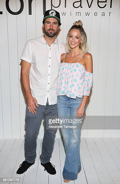 Brody Jenner and Kaitlynn Carter attend the Tori Praver fashion show during FUNKSHION Fashion Week Miami Beach Swim at the FUNKSHION Tent on July 18...